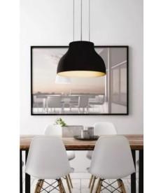 Luminária Pendente Led - 28w Design Redondo Preto Mate